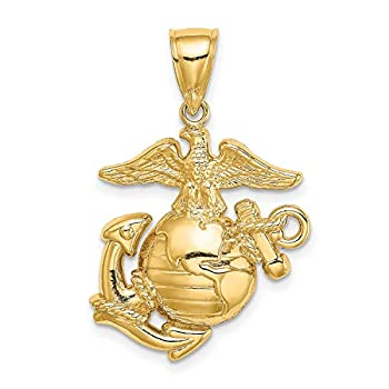Polished United States Marine Corps Insignia Logo Pendant in Real 14k Yellow Gold 21x19mm