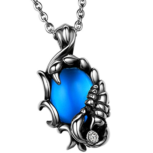 OIDEA Mens Stainless Steel Handmade Scorpion Pendant Necklace with Blue Ball Fit for Biker