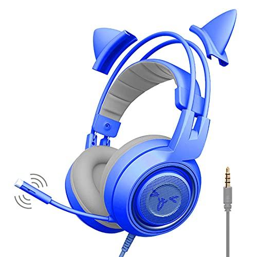ZIXUAL Auricular Lindo Gato Juego Auricular un Solo Enchufe PS4 Xbox Auriculares universales con micrófono