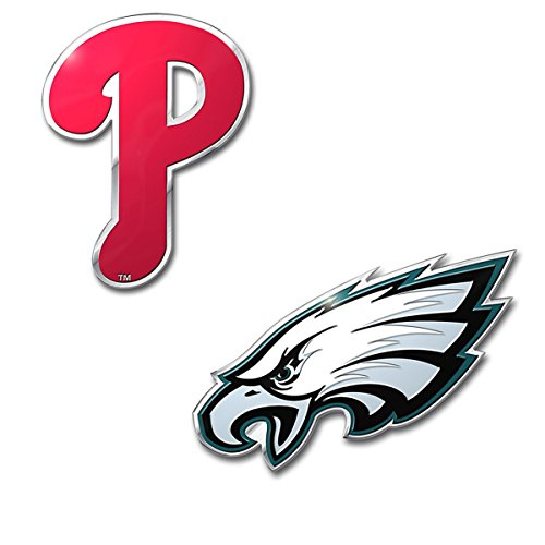 Rico Official Licensed Sports Teams Chrome Outlined Colored Auto Emblem, Philadelphia Eagles - Phillies