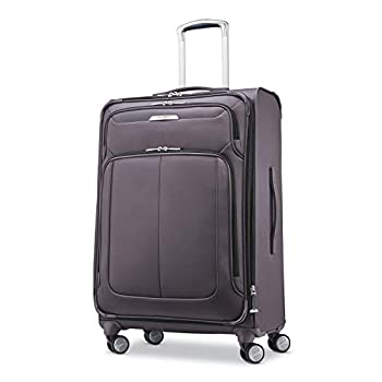 Samsonite Solyte DLX Softside Expandable Luggage with Spinner Wheels Mineral Grey Checked-Medium 25-Inch