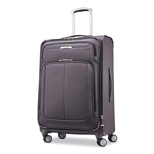 Samsonite Solyte DLX Softside Expandable Luggage with Spinner Wheels, Mineral Grey, Checked-Medium 25-Inch