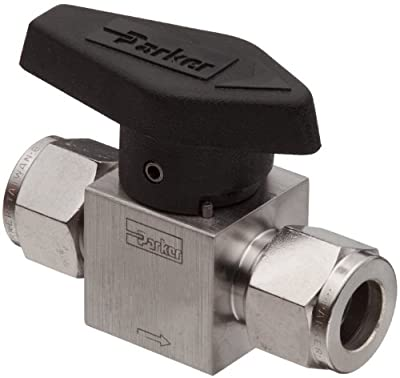 """Parker 316 Stainless Steel Rotary Process Plug Valve with Fluorocarbon Rubber Seal and PTFE Back-Up Ring, 1/4"""" A-LOK Compression Inlet/Outlet Port, 3000 psi by Parker"""