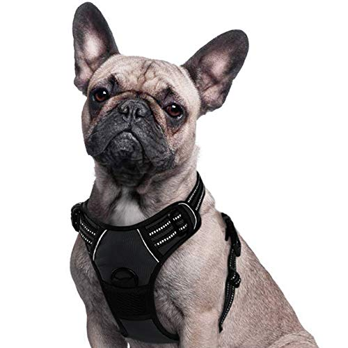 Eagloo No Pull Dog Harness Small Black, Front Clip Vest Harness Dog Car Harnesses with Handle Puppy...