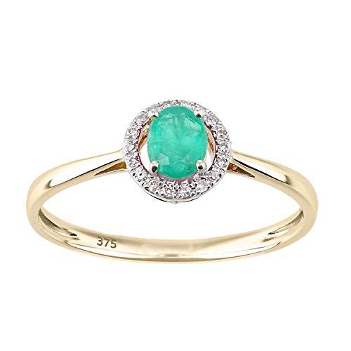 Naava Women's 9ct Yellow Gold Diamond Halo and Emerald Round Ring - Size K