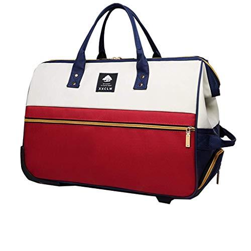 ZHOUMEI zijn toepasbaar Travel Trolley Bag Travel Opbergdoos Kleding Opbergtas Handtas Casters Waterdicht - Intrekbare grootte Unisex Opvouwbaar (kleur: ROOD Afmeting: 47L)