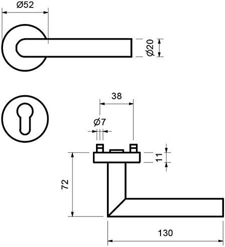 Picaporte para puertas de entrada de vivienda Lockzzz W/ürzburg II cilindro perfilado PZ cerradura en forma de L color negro mate