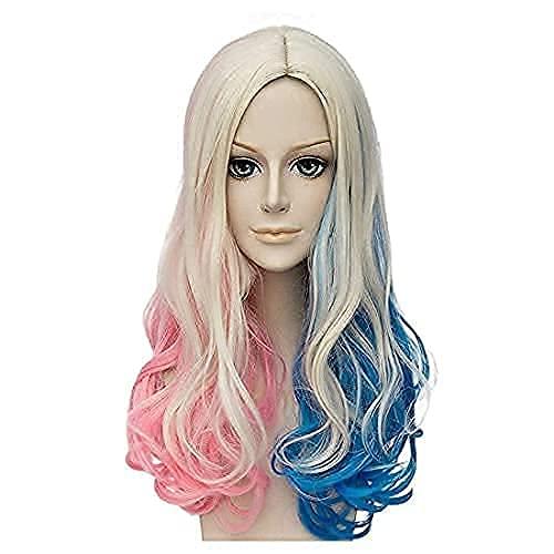 FVCENT 26 Inches lange lose lockige Mischfarbe Frauen Cosplay Karneval Perücke,Harley Quinn cos