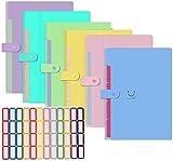 KAHEIGN 6 carpetas de archivos A4, 5 bolsillos con cierre a presión, tamaño carta, organizador de documentos de acordeón, para casa, escuela, oficina (con 64 etiquetas).