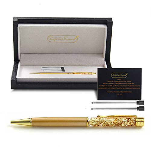 Superiore Senna Italian Black Ink Gold Pen - Gift Box Luxury Pen with Real 24K Gold Flakes and 2 Ink Cartridges - Cute, Fancy Pens for Wedding, Gold Office Supplies for Women, Desk Gifts for Men