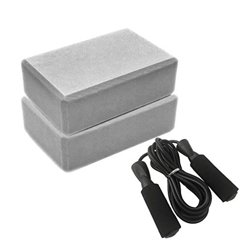 Amazing Deal Yoga Block Set(2 Pack Yoga Blocks & 1 Skipping Rope) High Density Foam Lightweight ...