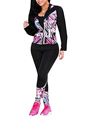 Akmipoem Women's Digital Printed Tracksuit 2 Piece Outfits Long Sleeve Hoodie Jacket and Pants Set Pink XXL