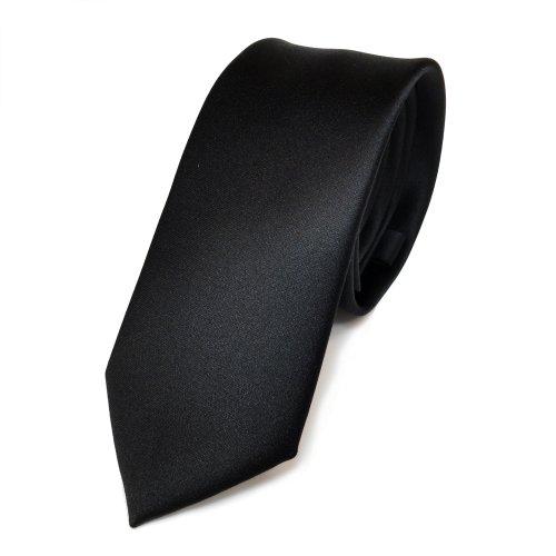 TigerTie schmale Satin Krawatte in black schwarz einfarbig uni