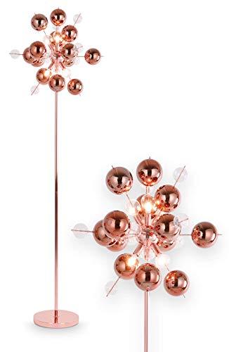 NÄVE Stehlampe Explosion in kupfer - Stehleuchte 167 x 50 cm mit 6x G9 Fassung 20W - Standleuchte modern aus Metall/Glas ideal für Wohnzimmer & Schlafzimmer - Wohnzimmerlampe, Standlampe, Leselampe