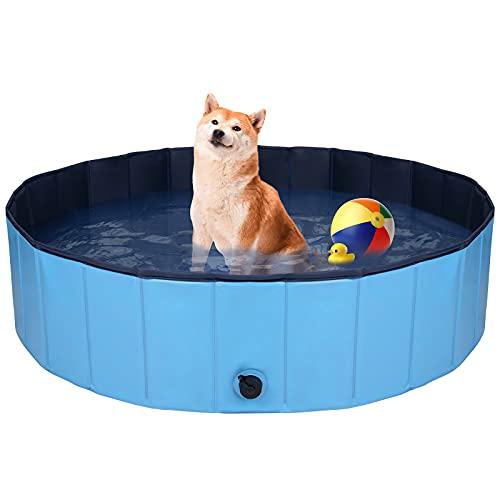 QNINE Dog Swimming Pool, Foldable Paddling Pool 120 x 30 CM, Non-Slip...