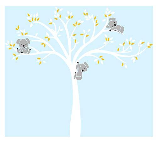 grande y blanco con hojas blancas y amarillas y tres koalas,Vinilo adhesivo...