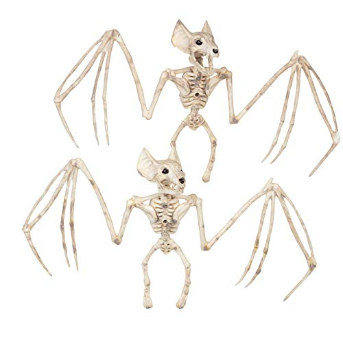 Romote Halloween Tierisches Skelett Decration Horrible Bat Skeleton Simulation Bat Modell Vivid Bat Knochen Halloween Props Scary Tierisches Skelett Für Halloween-Dekor 2Er-Set