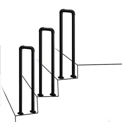 RTY-SC Negro de Metal de transición Barandilla for el Cemento Pasos concretos y peldaños de Madera - Escalera Exterior de escaleras Pasamanos - Barandilla de piquete por escaleras Exteriores