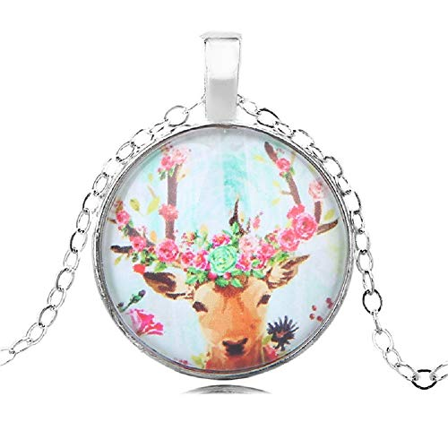 Clysburtuony Round Deer Pendant Necklace Fashion Necklace Choker for Women Men Boys Girls