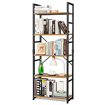5 Tier Bookshelf Tall Wood Bookcase Rustic Storage Shelves Organizer Modern Vintage Standing Shelving Unit for Bedroom Office Living Room 63 inch
