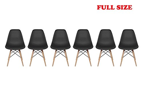 Inspirer Studio Set of 6 New 17 inch SeatDepth Eames Style Side Chair with Natural Wood Legs Eiffel Dining Room Chair Lounge Chair Eiffel Legged Base Molded Plastic Seat Shell Top Side Chairs (Black)