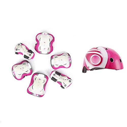spining Conjunto de Engranajes Protectores para niños - Casco de Bicicleta para niños Ajustable Rodilla de la Rodilla Pandillas de Codo - Scooter Single Wheel Skate Skate Pad, Rosa, S (3-6 años)