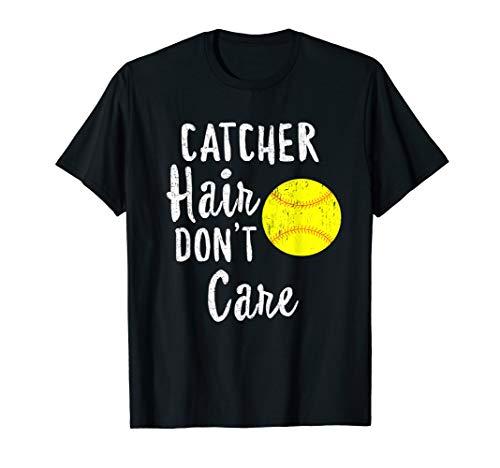 Catcher Hair Don't Care Baseball T-Shirt Softball