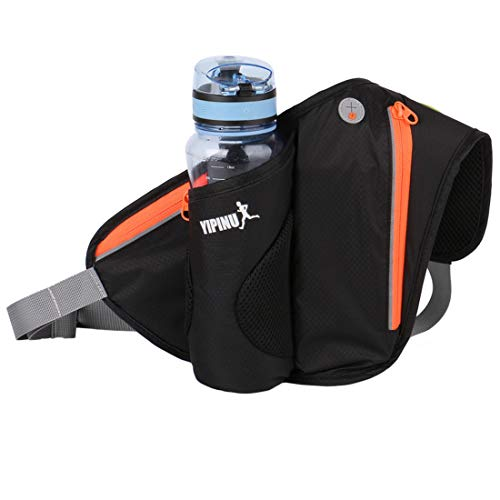 YONKINY Sport Gürteltasche Bauchtasche mit Flaschenhalter Unisex wasserdichte Hüfttasche für Laufen Radfahren Camping Jogging mit Tasche für iPhone X/8/8 Plus/7 (Schwarz)