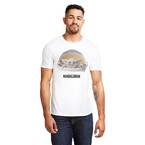Star Wars Mandalorian-The Child Carriage T-Shirt, La Carrozza Bambino Bianco, M Uomo