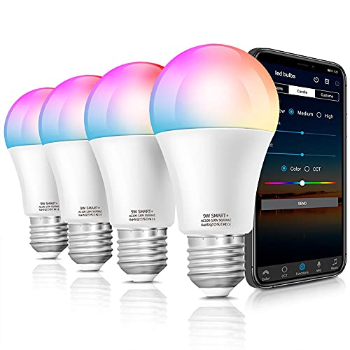 Alexa Smart Light Bulbs, Lapurete's LED RGBCW Color Changing,85W Equivalent E26 9W WiFi Led Bulb , Work with Google Home Amazon Echo, 2.4Ghz WiFi Only, No Hub Required 4 Pack