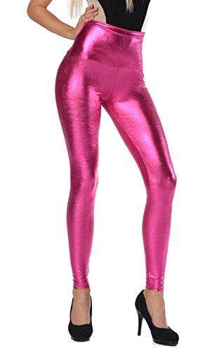 AE Damen Leggings Wet-Look schwarz Silber Gold pink grau Glanz Legings Gr. S M L XL 2XL 3XL 4XL, p904 Pink XXL/44
