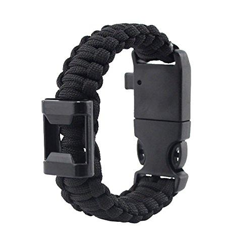 ZENDY Paracord Bracelet Corde avec ouvre-Bouteille, Une Boussole, Un sifflet et la Survie en Plein air Firestarter Inoxydable grattoir Multifonction (7 brins Cordon) (Noir)