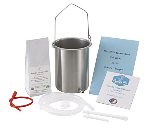 PureLife Coffee Enema Kit / Made in USA/ 304 Food Grade Stainless Steel Enema Bucket/ Medical Grade Silicone Tubing/ 1/2 Lb Organic Air Roasted Coffee/ Doctors #1 Choice