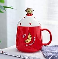 CHUNSHENN コーヒーカップ 贈り物 ウォーターミルクコーヒーカップフラワーティーカップのために恋人の蓋スプーンセラミックカップセラミックカップかわいい漫画の動物のカップ プレゼント ギフト