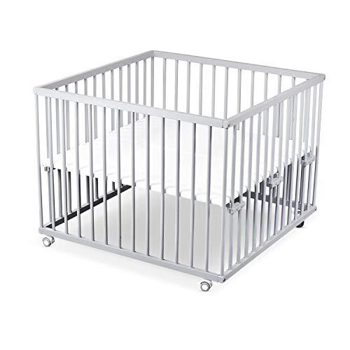 Sämann® Laufgitter 100x100 Buche grau, mit gummierten Rollen, stufenlose Bodenhöhe, TÜV geprüft 2020, Laufstall Baby