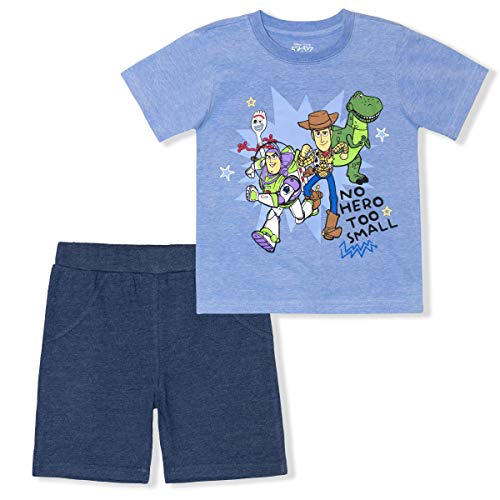 Disney Toy Story Boy s 2 Pack Tee Shirt and Shorts Set for Toddlers and Kids, Blue, Size 3T