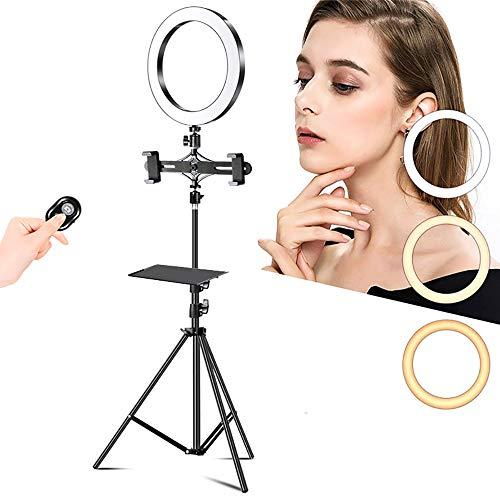 Selfie-lichtring, 26 cm LED-lichtring Voor Mobiele Telefoon, Met Statief En Houder Voor Mobiele Telefoon Voor Live Streaming/Make-up,C,1.9m