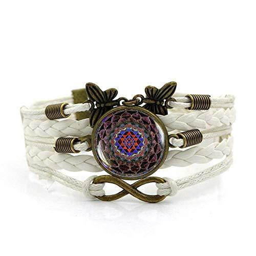 QZH Pulseras para hombre, cuerda blanca, religión india, yoga, arte de meditación, pulsera de piedras preciosas de varias capas de vidrio tejido a mano, joyería de estilo europeo y americano
