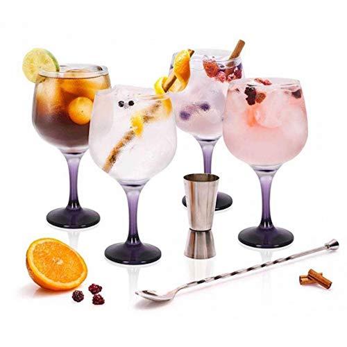 Stylehome Set Gin Tonic con 4 Copas de Balón, 1 Vaso Dosificador, 1 C