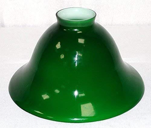 linoows Lampenschirm, Antiker Glas-Schirm, Konisch geschweift Grün-Weiß, 20 cm