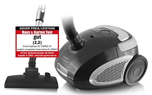 Emerio VE-109959.14, Staubsauger SIEGER PREIS/LEISTUNG 05/2020 Haus&Garten Test, leistungsstark, 800 Watt, kompakt und leicht, mit Beutel, für Hard- & Teppichboden, 2.0 L, Staubbeutel Y50 kompatibel