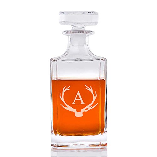 Abby Smith Antler Initial Engraved Liquor Decanter, Letter A