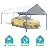 GALSOAR 10x20FT Outdoor Heavy Duty Carport Car Canopy Shelter with 6 Steel Legs and 3 Reinforced Steel Cables, Outdoor Party Tent Garden Gazebo, Rainproof, Snow Protection, Sunproof, Dustproof, White