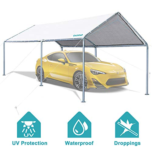 GALSOAR 10x20FT Outdoor Heavy Duty Carport Car Canopy Shelter with 6 Steel Legs and 3 Reinforced...