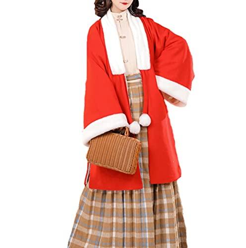 Vestido tradicional chino Hanfu vestido para las mujeres de invierno de felpa de lana traje antiguo traje de cosplay traje de 3 piezas-rojo_L