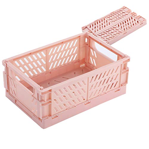BAREGO Caja de Almacenamiento Plegable de plástico/Contenedores de Canasta/Canasta de contenedor Plegable, Caja de Almacenamiento para Documentos, Juguetes, Ropa y comestibles (Rosa, Mx2 Piezas)