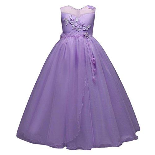 Btruely Prinzessin Kleid Mädchen Brautjungfern Kleid Abendkleid Blumen Cocktailkleid Hochzeit Partykleid Tüll Festzug Kinder Spitze Kleid (160, Lila)