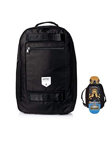 WeSC Black Laptop Backpack with Skateboard Straps