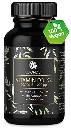 Luondu Vitamin D3 20.000 I.E + Vitamin K2 MK7 200 mcg Depot (180 Kapseln Hochdosiert & Vegan) Vitamin D3 K2 Kapseln hochdosiert I Eine Kapsel alle 20 Tage I Ohne Zusätze, Hergestellt in Deutschland