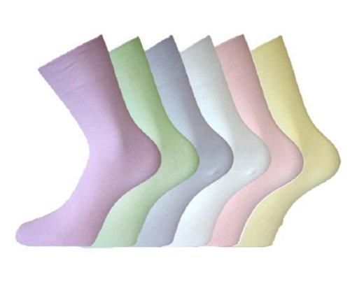 Damen einfarbig Baumwolle LOCKER breit TOP Freizeit Socken nein nicht elastisch 6 Paar Packung - Damen, Pastell, 36-40